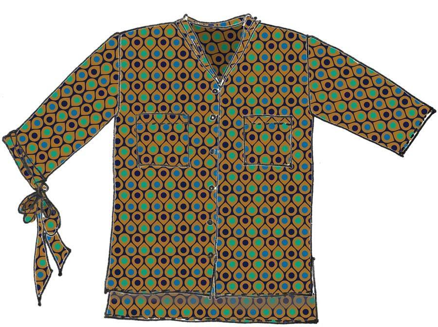 Maxi camicia raso stampato
