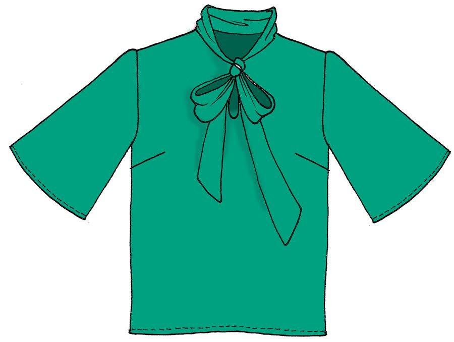 Blusa con fiocco crepe unito