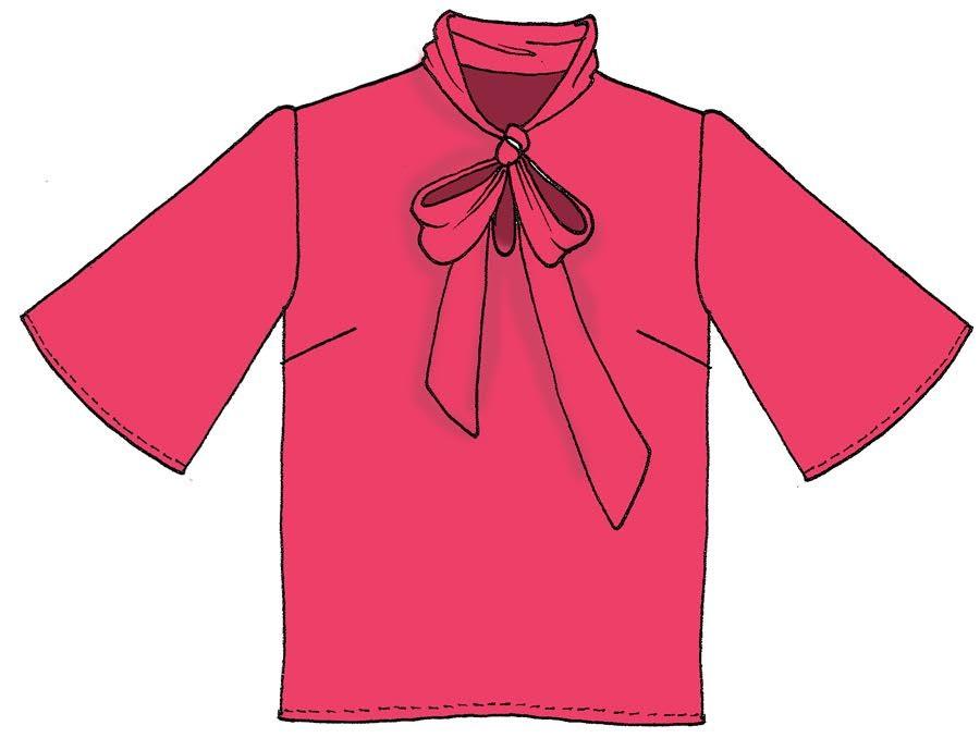 Blusa con fiocco raso unito