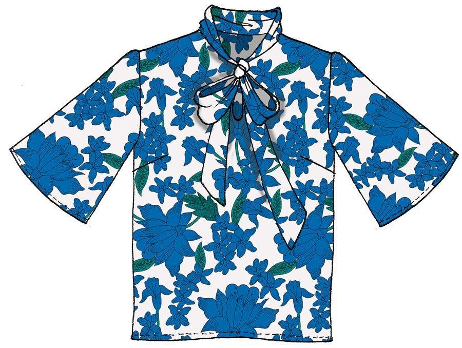 Blusa con fiocco raso stampato