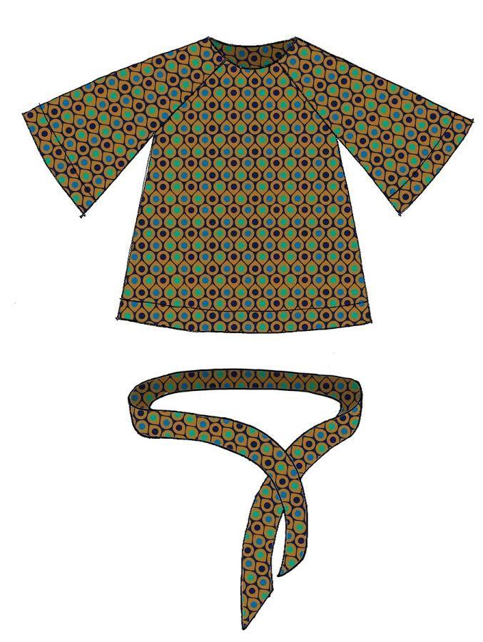 Blusa manica raglan raso stampato