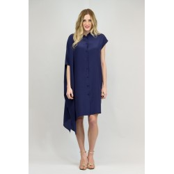 Asymmetric dress in crepe de chine