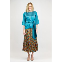 Wide palazzo trousers at the ankle in printed satin
