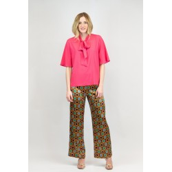 Palazzo pants with side lacing in printed satin