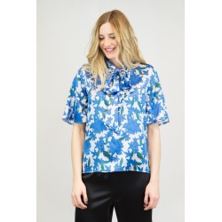 Blouse with bow in printed satin