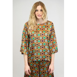 Blouse with raglan sleeve in printed satin